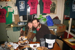 Matt and Silvia sell T shirts and cakes at the Croft for HKKP