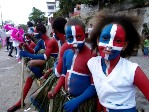 Dominican Republic flag face paint…