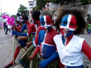 Dominican Republic flag face paint…