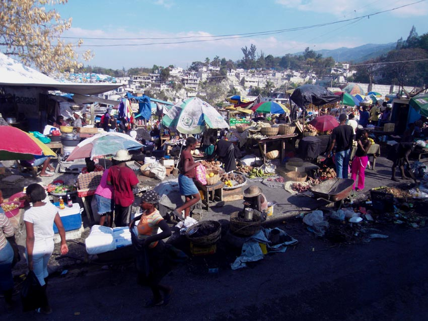 Street market – view from the bus coming into Port au Prince Tent city