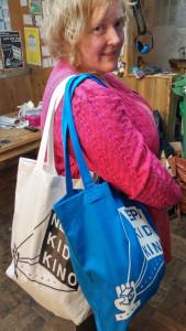 NKKP tote bags, modelled by Scruff