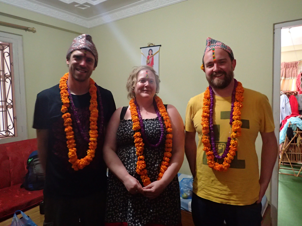Alex, Dave and Scruff after the Bhai Tika ceremony