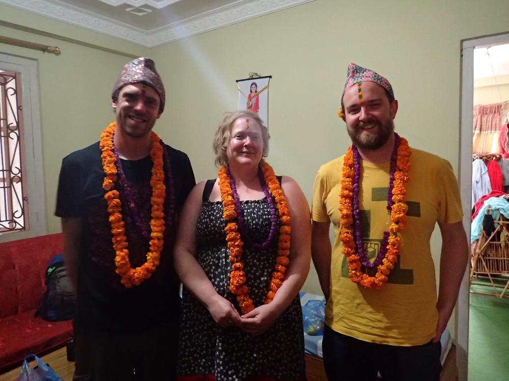 Alex, Dave and Scruff after the Bhai Tika ceremony