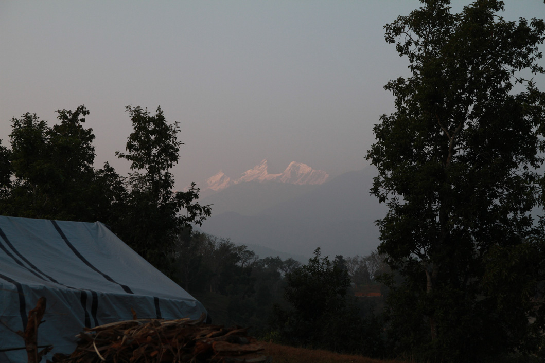 Mountain view - we think maybe Himalchuli in the Manaslu range