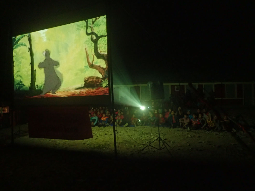 Screening The Jungle Book at Sukaura School